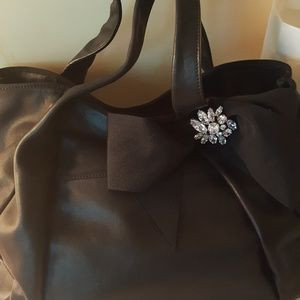 Ann Taylor all leather black bag with bow,NWOT